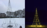 Mobiele vlaggenmast kerstverlichting